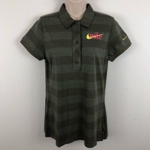NEW NIKE GOLF Womens Polo Button Up Shirt Stripe L